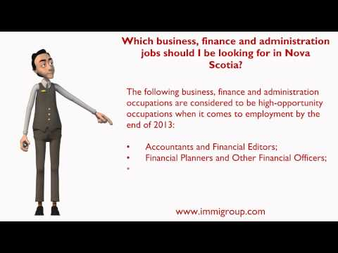 Which business, finance and administration jobs should I be looking for in Nova Scotia?