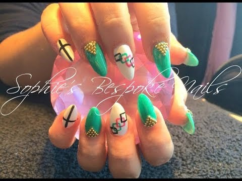 Acrylic Nails l Teal White & Gold l Nail Design
