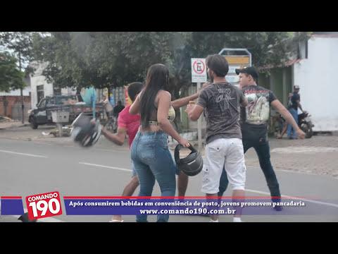 Após consumirem bebidas em conveniência de posto, jovens promovem pancadaria nas primeiras horas do dia deste sábado (15), em plena Avenida Brasil, em Ji-Paraná