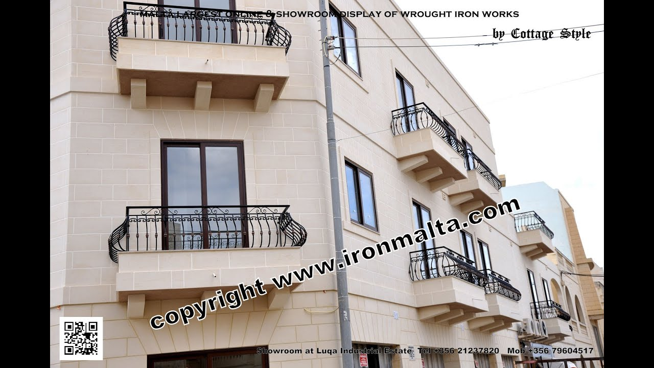 Iron balcony balconies railings art metal works malta for Simple railing design for balcony