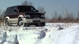 "ISUZU BIGHORN -  2001 6VE1 V-3.5 снег бездорожье ""девушка за рулем..MTS"