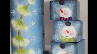 Pintar muñecos de nieve y pinos de navidad
