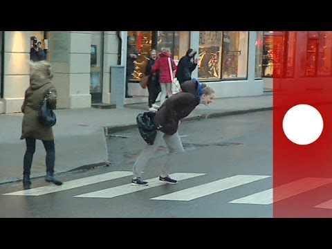 Thumbnail of video Walkin' in the Wind: People blown over in streets as Storm Ivar hits Norway
