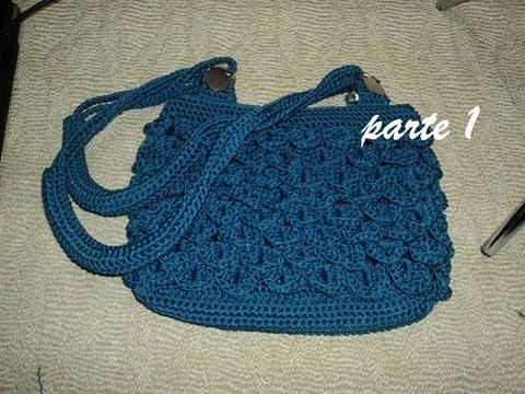 Bolsa punto escama a crochet parte 1 youtube - Como hacer bolsos tejidos ...