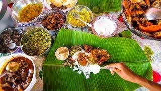 Sri Lankan Tamil Food - BANANA LEAF MEAL and Lagoon Crabs in Trincomalee, Sri Lanka