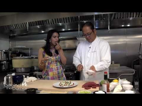 Tuna Pizza with Chef Masaharu Morimoto at Morimoto Restaurant, New York City