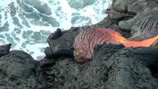 spectacle fantastique à Hawai'i : la lave se jette à la mer !