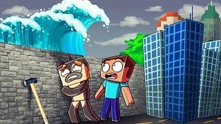 Minecraft   TSUNAMI BASE CHALLENGE 2 - Tsunami Destroys City! (Wall vs Tsunami)