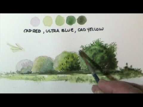 How to paint bushes in watercolor by Dennis Clark