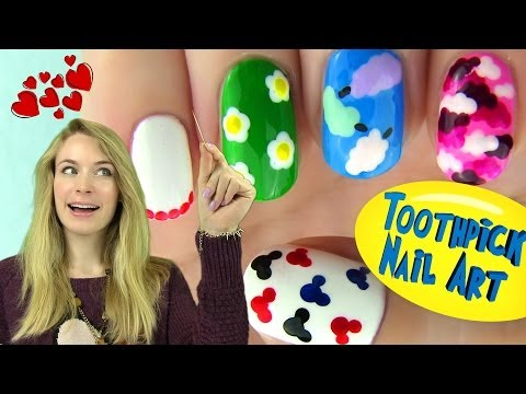 Toothpick Nails! 5 Nail Designs Using Only a Toothpick,