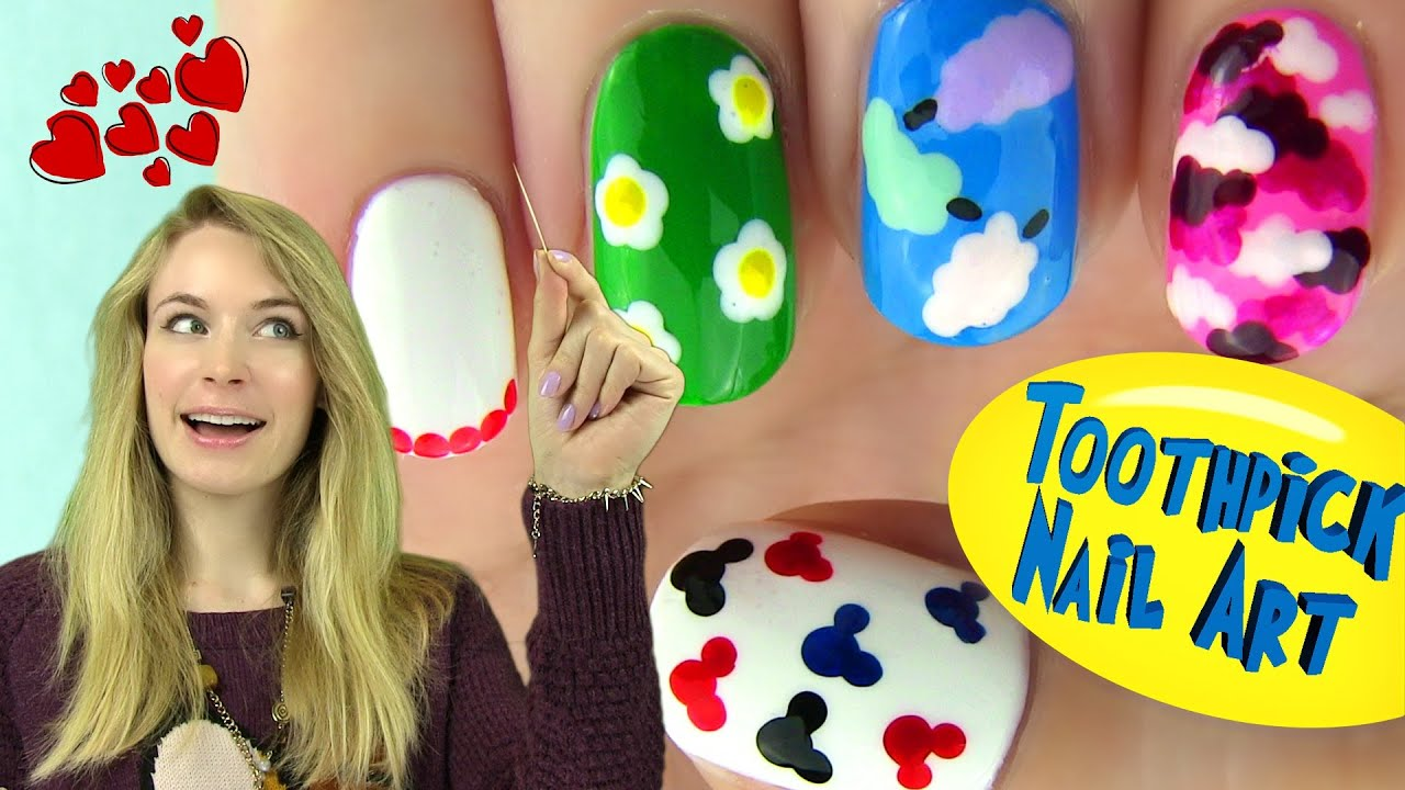 Toothpick Nails 5 Nail Designs Using Only A Toothpick Youtube