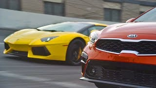 Lamborghini Aventador vs. 2019 Kia Forte. YouCar Car Reviews.