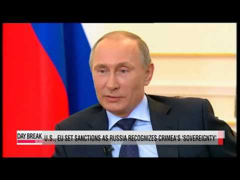 "U.S., EU set sanctions as Putin recognizes Crimea ""sovereignty"""