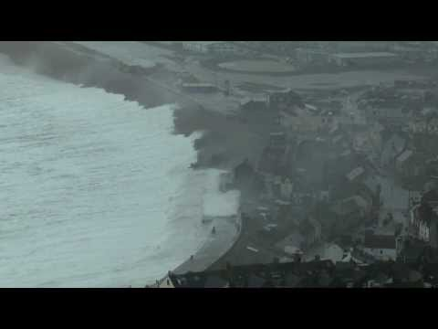 The Great Storm waves hit Chesil Beach 5 February 2014
