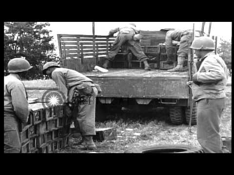United States African American troops unload and stock ammunition at a dump in Ch...HD Stock Footage