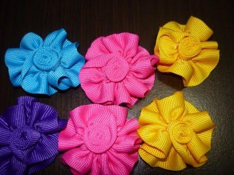 tutoriales de rosas y  flores en cinta para decorar accesorios para el  cabello paso a paso  No. 10