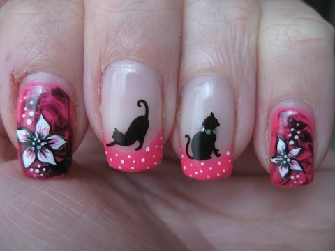 Nail art: Marbled nails with cats and flowers