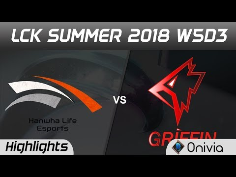 HLE vs GRF Highlights Game 1 LCK Summer 2018 W5D3 Hanwha Life Esports vs Griffin by Onivia