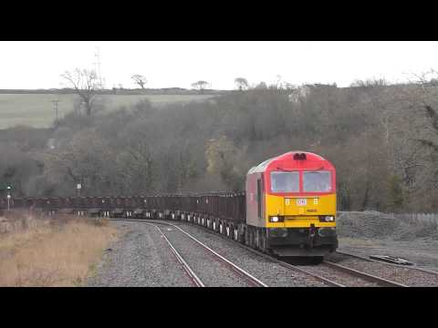 60059 through Llangennech on the 6B03 Trostre to Margam Steel empties 15/03/2014