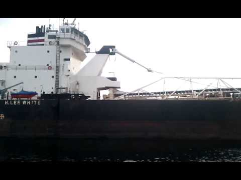 Big ass ship goin through muskegon channel