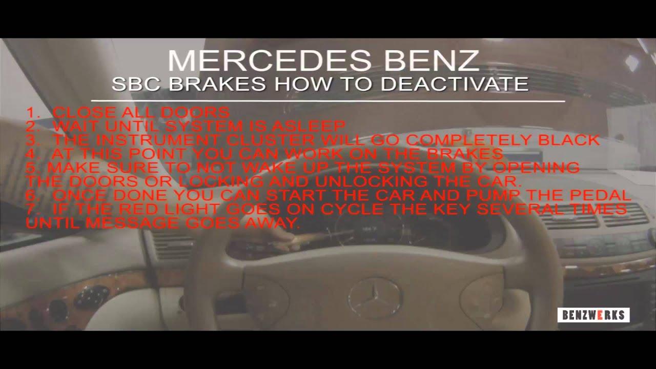 Benzwerks sbc brakes how to deactivate youtube for Mercedes benz sensotronic brake control sbc