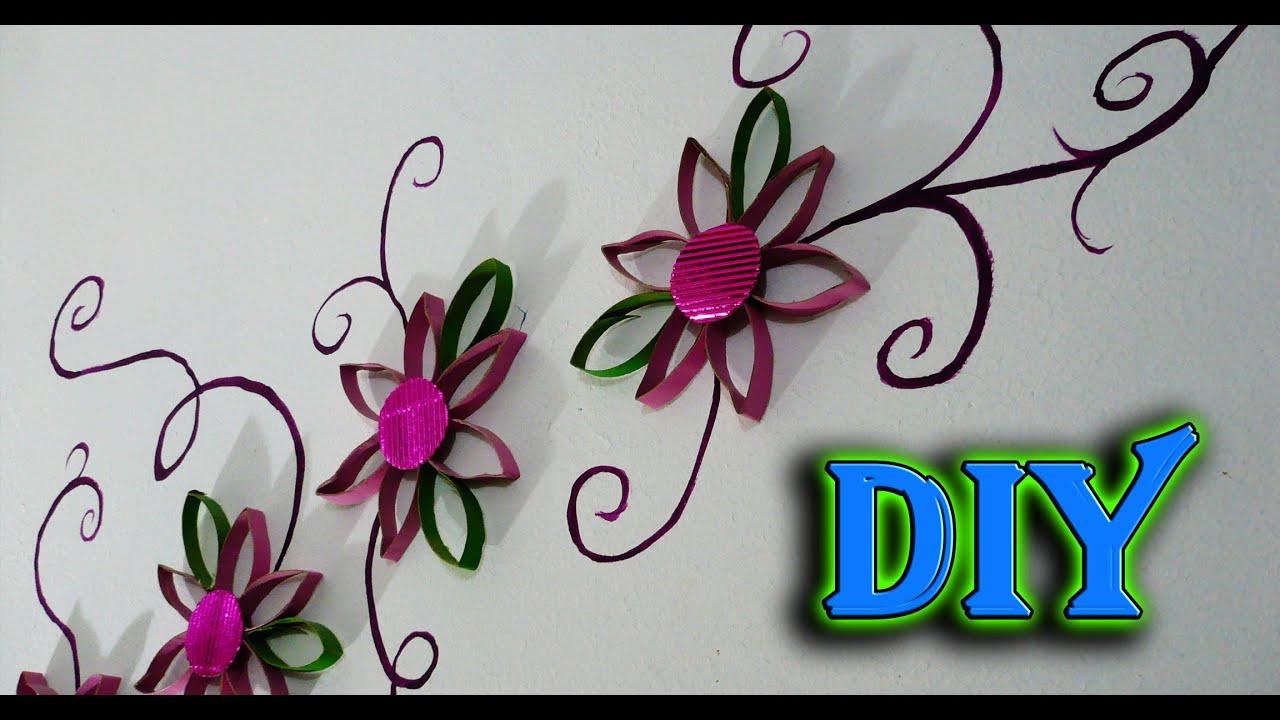 Diy decora tu pared con flores reciclando cartones del - Papel decorativo para pared ...