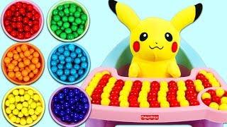 Feeding Pokemon Pikachu Rainbow Gumballs!