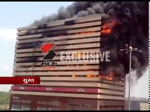 Fire breaks out at textile market located in Orchid building in Surat's Poona area.