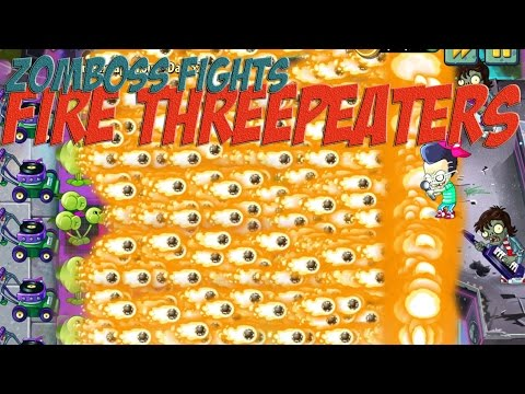Plants vs Zombies 2 Epic Hack : The Fire Threepeaters vs Each Freakin' Zombots