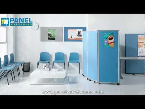 Mobile Folding Room Divider, 5 panel, 1500mm high, Intervene Fabric