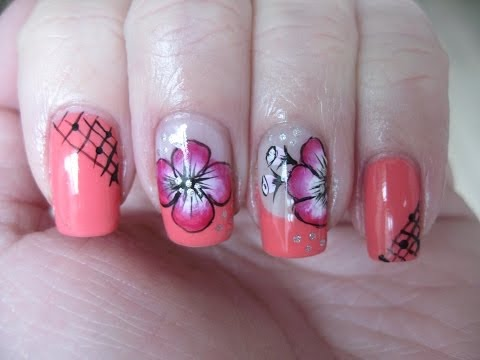 Nail art: Coral french with one stroke flower