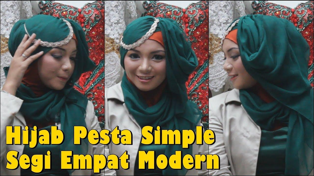 Hijab Pesta Simple Segi Empat Modern by Revi - YouTube