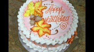 Cake Decorating- Fall Leaves Design- Piped On- Tutorial