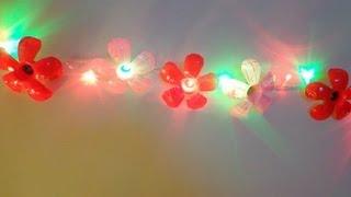 Reciclar botellas de plástico: flores iluminadas