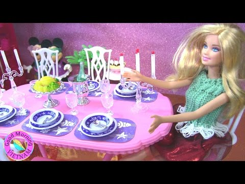 ❤Bàn Tiệc Màu Hồng Sang Trọng Của Barbie 2016 (Chị Bí Đỏ) ❤ Barbie's Pink Dinning Table