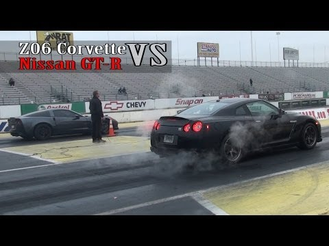 Nissan GTR vs Z06 corvette 10sec race