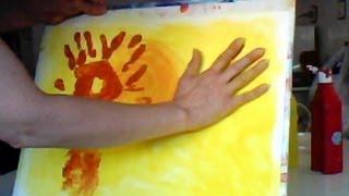 Pintura infantil con dedos - Paisaje de Otoño