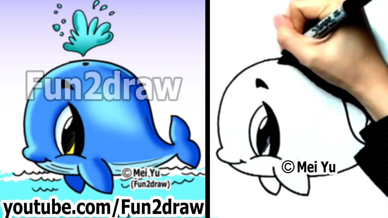 Easy fun things to draw how to draw a whale cute for Fun things to draw
