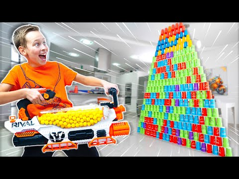 NERF Rival Prometheus vs GIANT Paper Cup Pyramid !!! Fun Playtime with Fastest NERF Gun