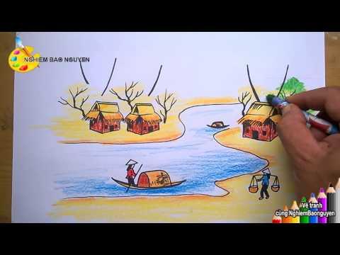 Vẽ tranh phong cảnh quê hương/How to Draw native landscape