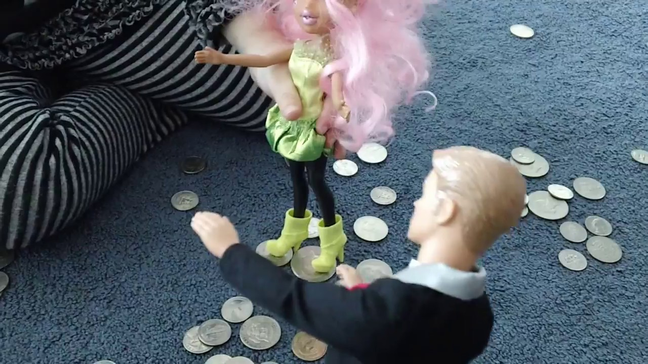 ... play with. Ken Barbie and baby have a pile of silver dollars - YouTube