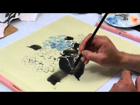 How to Paint Hydrangeas in Chinese Brush Painting with Henry Li(HD)