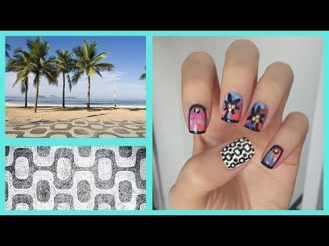 Water Color Palm Tree Nail Art!