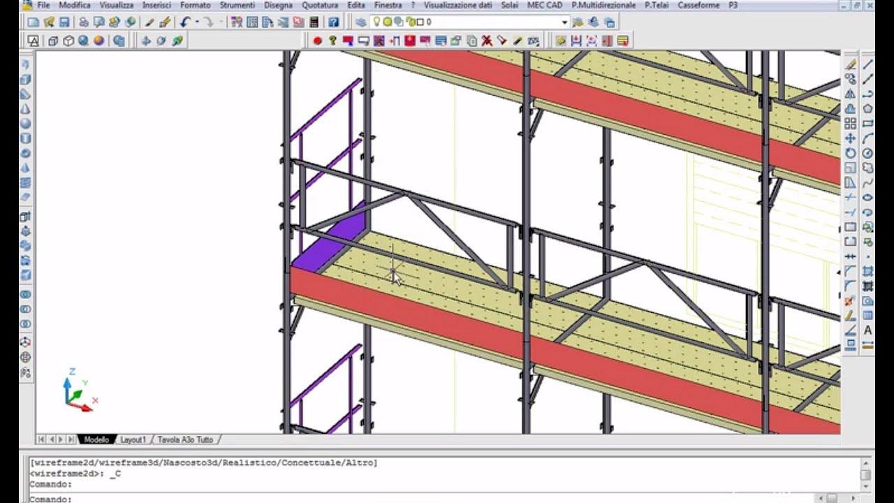 Demo pon cad esempio di disegno di ponteggio youtube for Software per disegno 3d