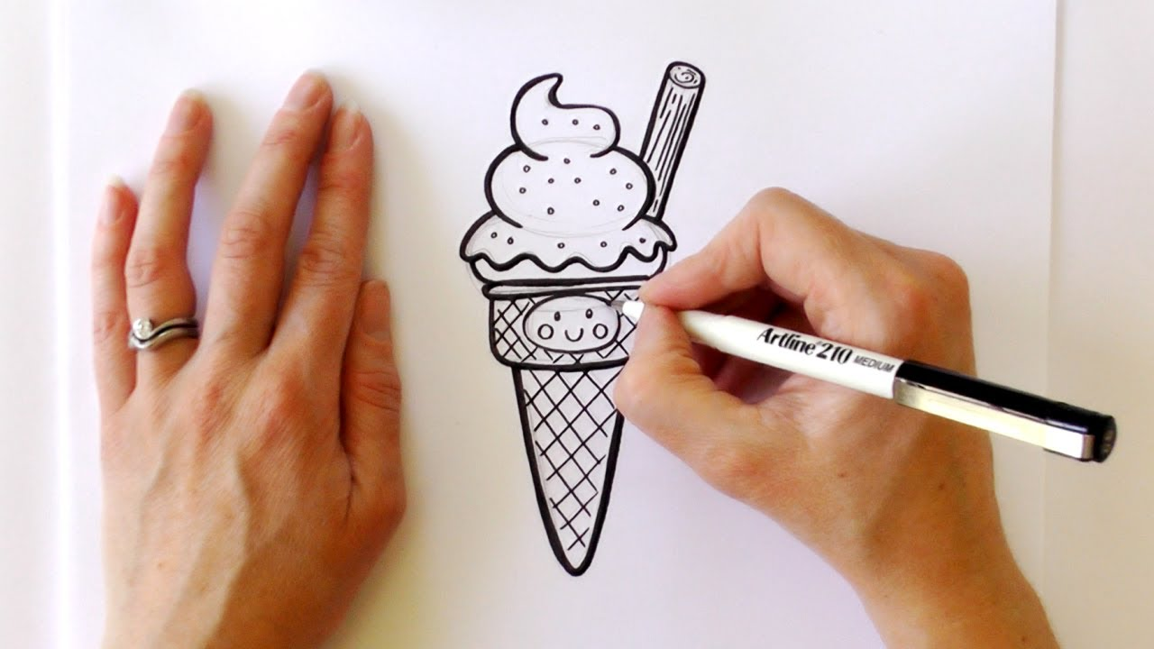 how to draw an ice cream cone step