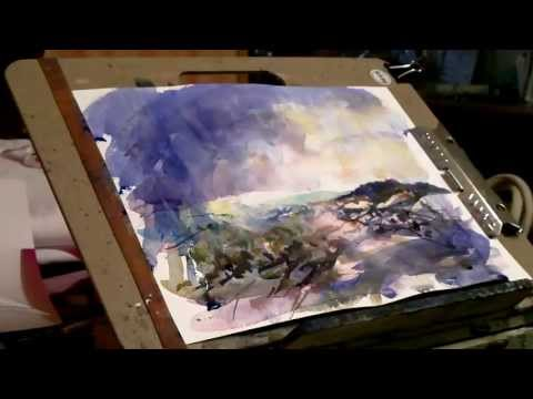 Winter Landscape Watercolor Painting in a loose impressionist style