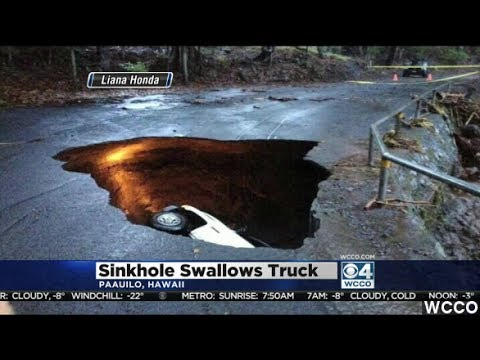 Giant Sinkhole In Hawaii Swallows Truck With Driver Inside