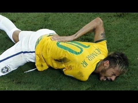 Neymar Jr Injured & Carried Off Field | Brazil vs Columbia Worldcup 2014
