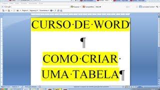 Curso De Word Como Criar Construir Tabela De Forma Rápida