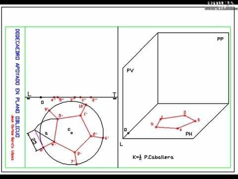 DIBUJA GARLO dodecaedro apoyado en plano de proyección horizontal